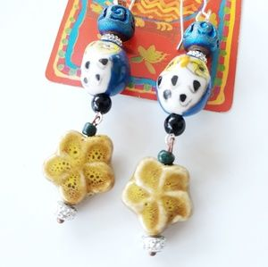 Ceramic Owl Beaded Dangle Earrings NWT